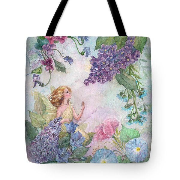 Tote Bag featuring the painting Lilac Enchanting Flower Fairy by Judith Cheng