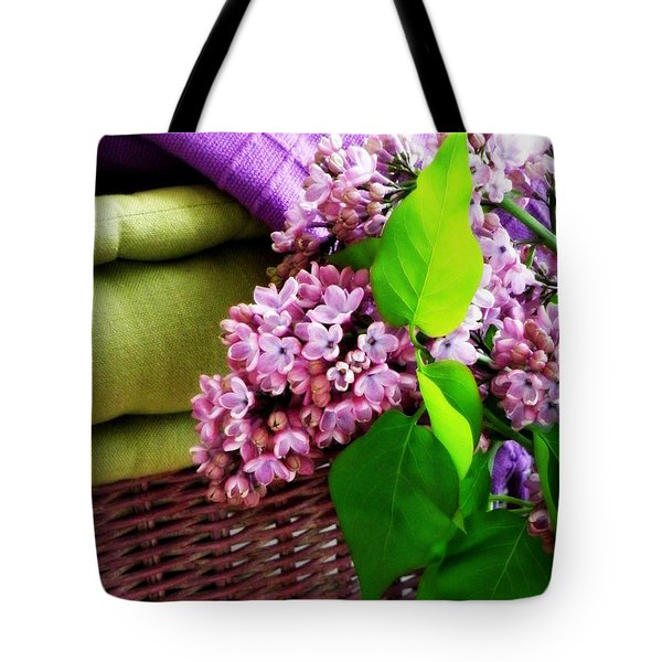 Lilac Still Life Tote Bag by Lainie Wrightson