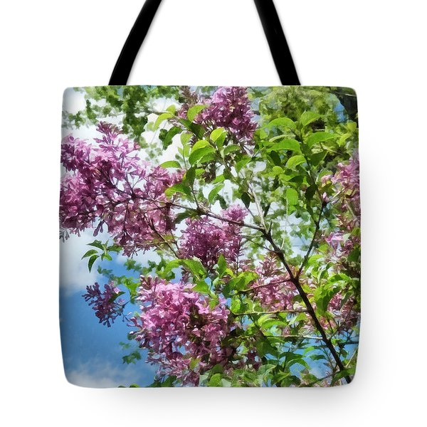 Lilacs And Clouds Tote Bag by Susan Savad
