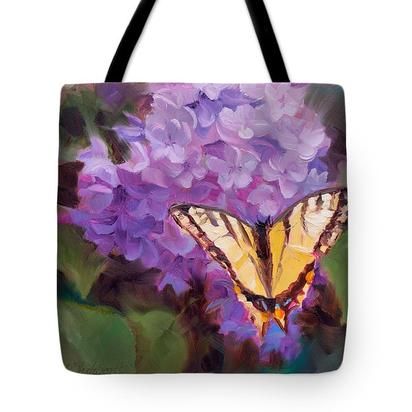 Lilacs And Swallowtail Butterfly Purple Flowers Garden Decor Painting  Tote Bag