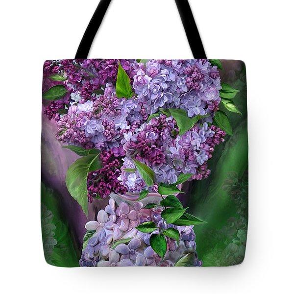 Lilacs In Lilac Vase Tote Bag by Carol Cavalaris