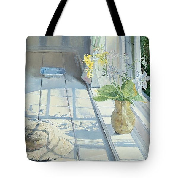 Lilies And A Straw Hat Tote Bag by Timothy Easton