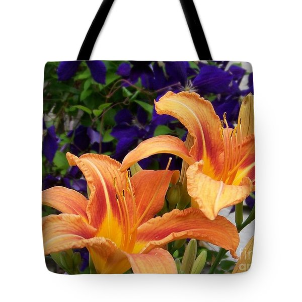 Lilies And Clematis Tote Bag