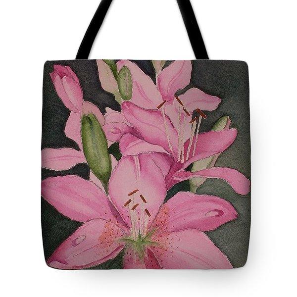 Lilies In Pink Tote Bag