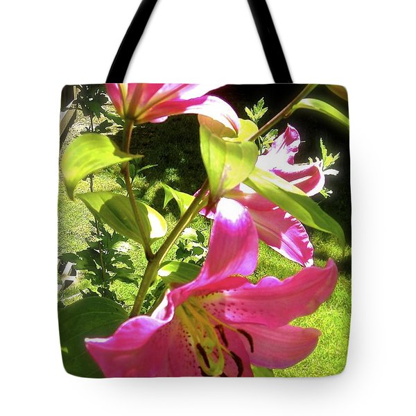 Tote Bag featuring the photograph Lilies In The Garden by Sher Nasser