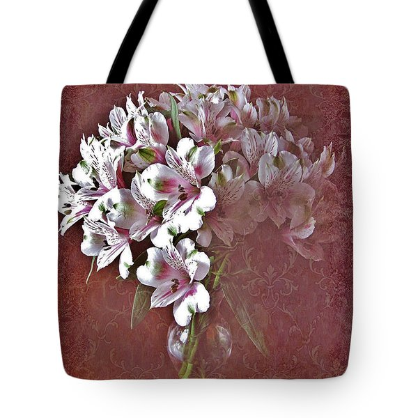Tote Bag featuring the photograph Lilies In Vase by Diane Alexander