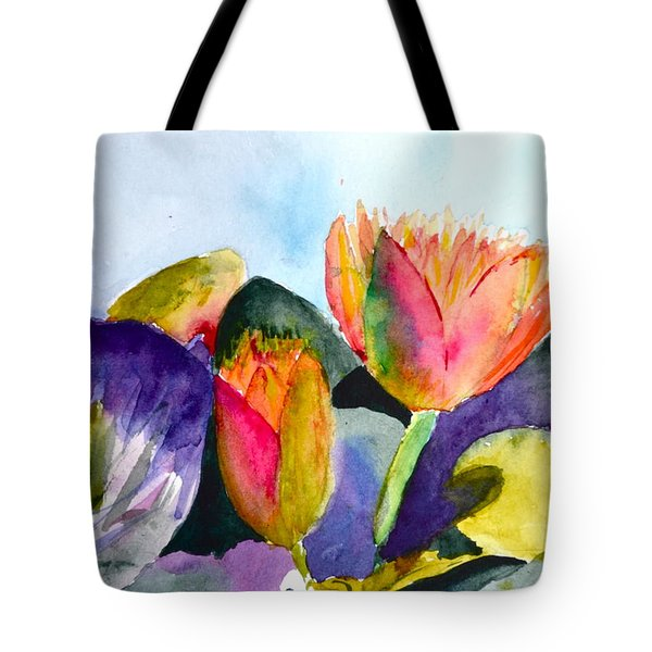 Lilies Of The Water Tote Bag by Beverley Harper Tinsley