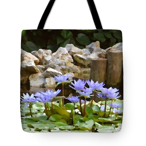 Lilies On The Pond Tote Bag by Darla Wood
