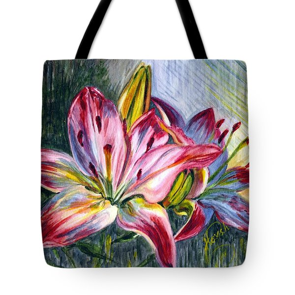 Tote Bag featuring the painting Lilies Twin by Harsh Malik