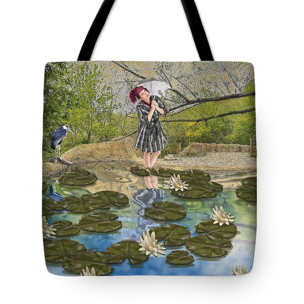 Tote Bag featuring the digital art Lilly Pad Lane by Liane Wright