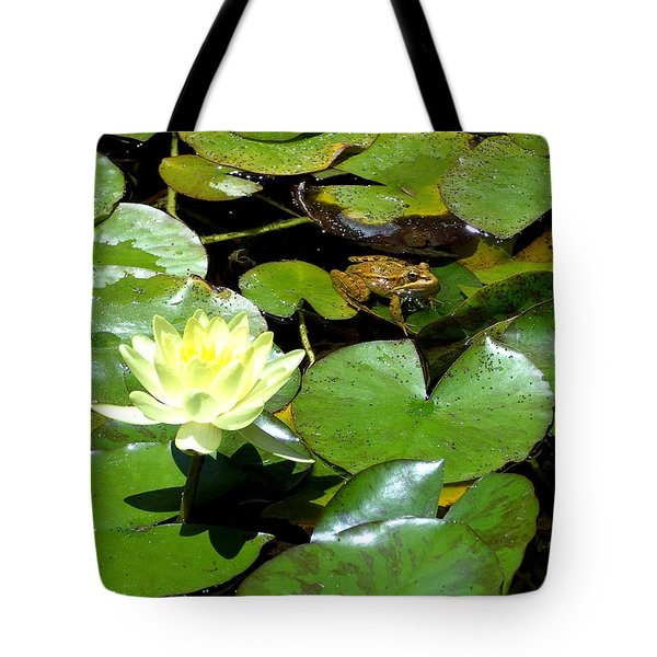 Lily And Amphibian Friend Tote Bag