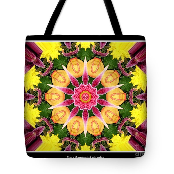 Tote Bag featuring the photograph Lily And Chrysanthemums Flower Kaleidoscope by Rose Santuci-Sofranko