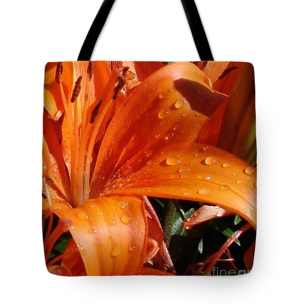Tote Bag featuring the photograph Lily Drops by Kerri Mortenson