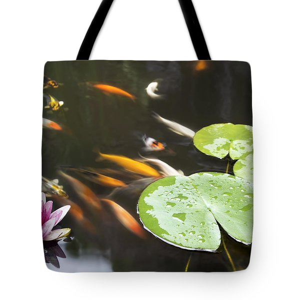 Lily Pad Pink Flower In Koi Pond Tote Bag