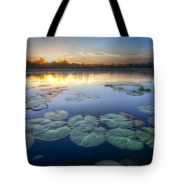 Lily Pads In The Glades Tote Bag by Debra and Dave Vanderlaan