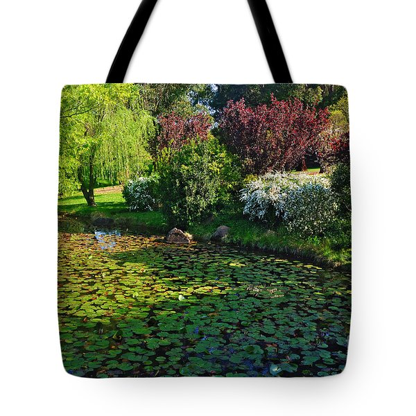 Lily Pond And Colorful Gardens Tote Bag by Kaye Menner
