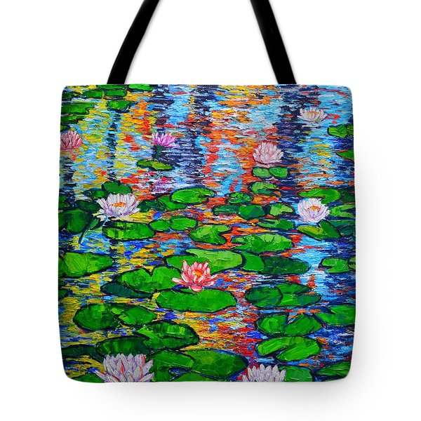 Lily Pond Colorful Reflections Tote Bag