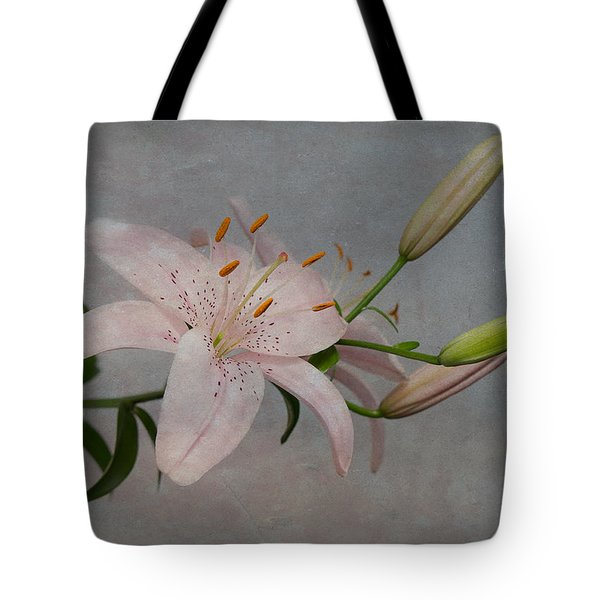 Pink Lily With Texture Tote Bag