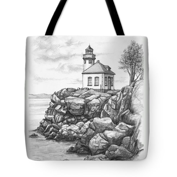 Lime Kiln Lighthouse Tote Bag by Kim Lockman