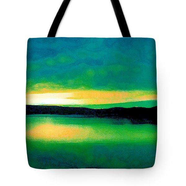 Lime Sunset Tote Bag