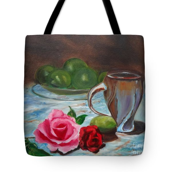 Tote Bag featuring the painting Limes And Roses by Jenny Lee