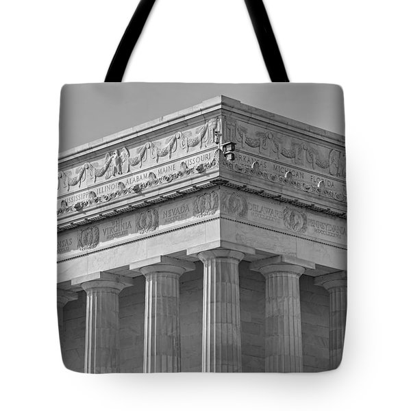 Lincoln Memorial Columns Bw Tote Bag by Susan Candelario
