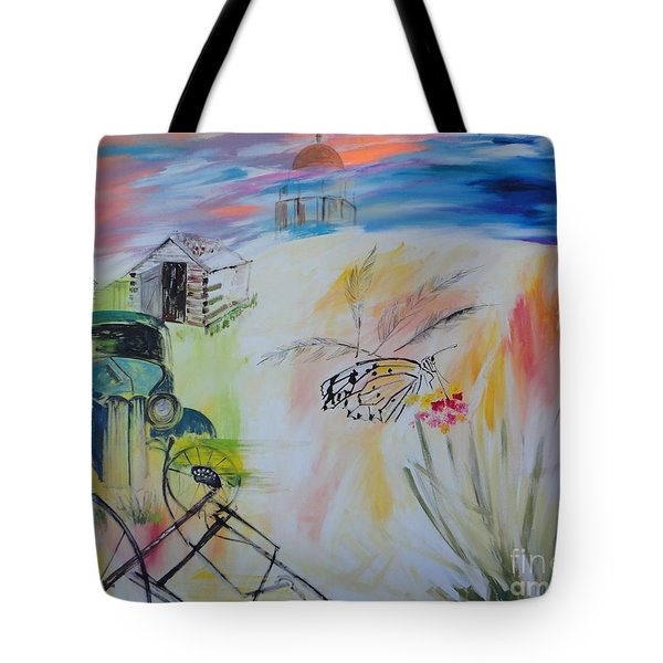 Tote Bag featuring the painting Lincoln Nebraska by PainterArtist FIN