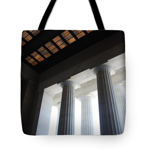 Lincoln Stained Glass And Columns Tote Bag