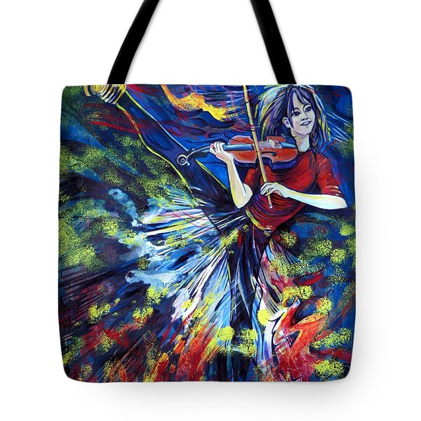 Lindsey Stirling. Dancing Violinist Tote Bag by Anna  Duyunova