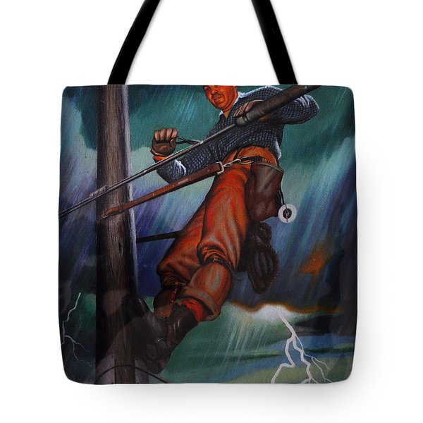 Lineman In Storm Tote Bag