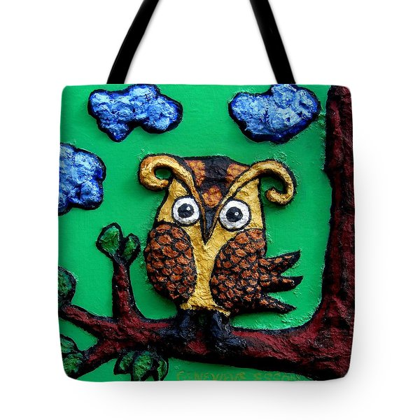 Lint Owl Detail Tote Bag by Genevieve Esson