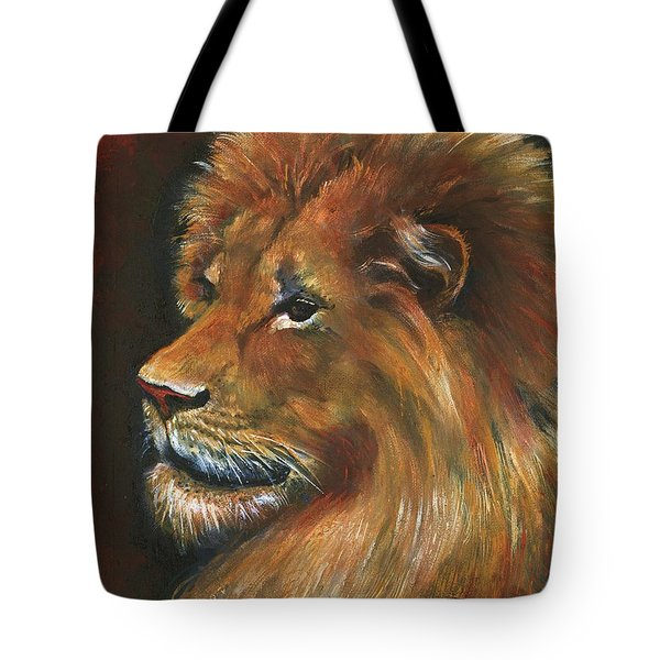 Tote Bag featuring the painting Lion by Alga Washington
