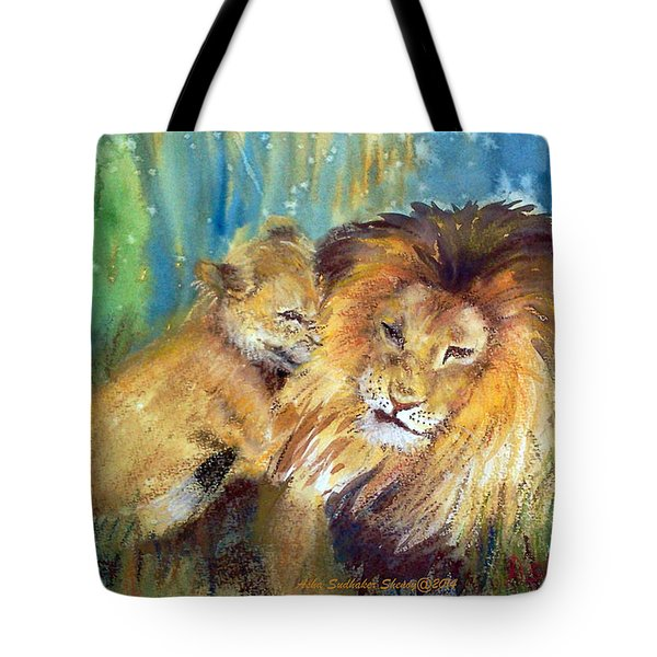 Lion And Cub -2 Tote Bag
