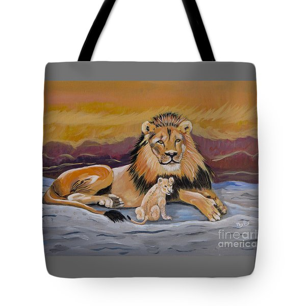 Tote Bag featuring the painting Lion And Cub by Phyllis Kaltenbach