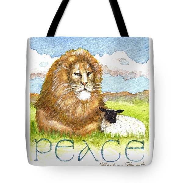 Lion And Lamb - Peace  Tote Bag