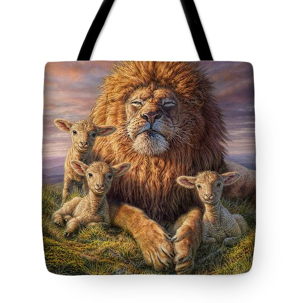 Lion And Lambs Tote Bag