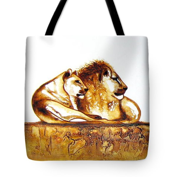 Lion And Lioness - Original Artwork Tote Bag