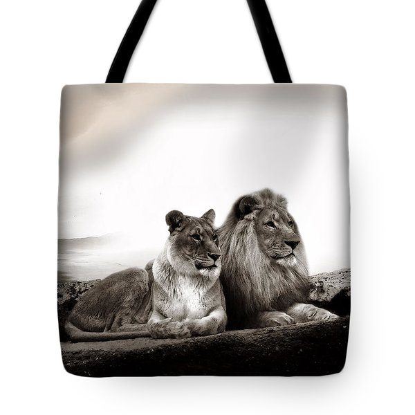 Lion Couple In Sunset Tote Bag by Christine Sponchia