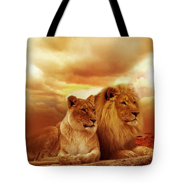 Lion Couple Without Frame Tote Bag by Christine Sponchia