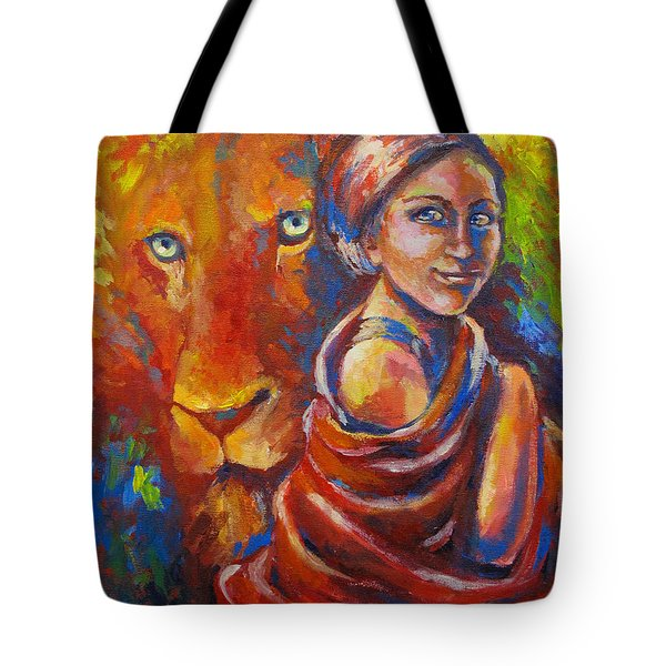Lion Covering Tote Bag by Tamer and Cindy Elsharouni