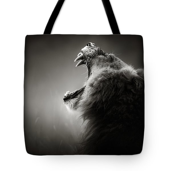 Lion Displaying Dangerous Teeth Tote Bag