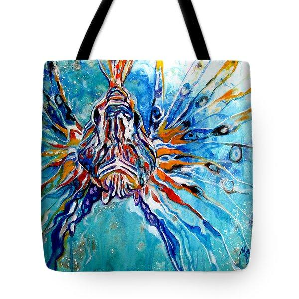 Lion Fish Blue Tote Bag