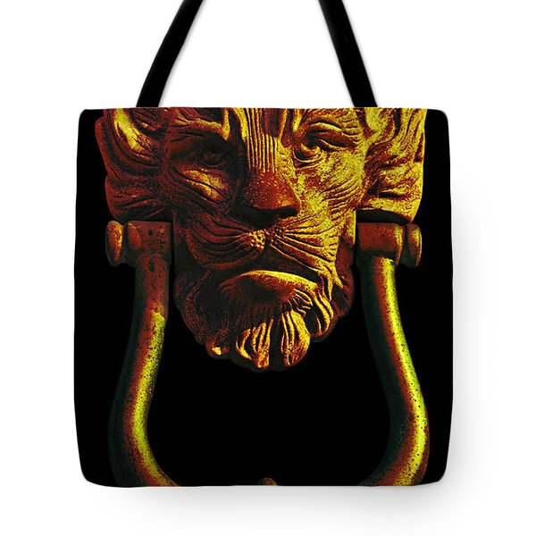 Lion Head Antique Door Knocker In Black And Gold Tote Bag by Jane McIlroy