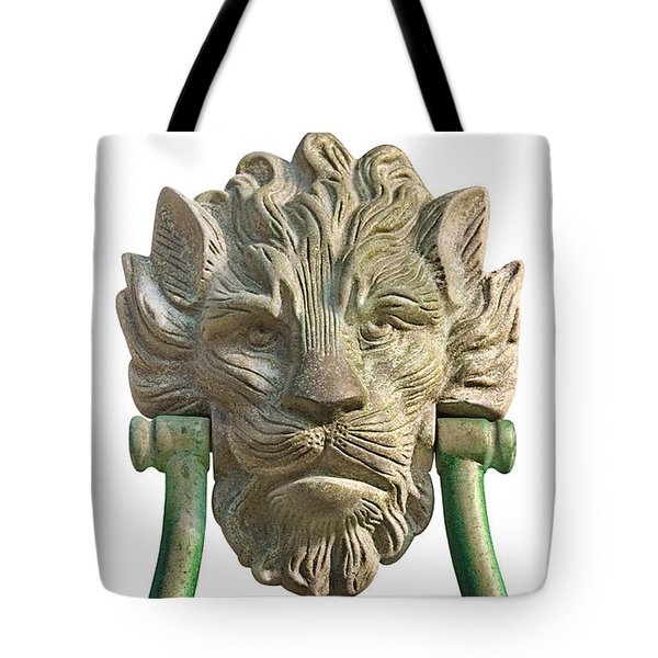 Lion Head Antique Door Knocker On White Tote Bag by Jane McIlroy
