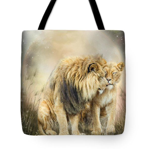 Tote Bag featuring the mixed media Lion Kiss by Carol Cavalaris