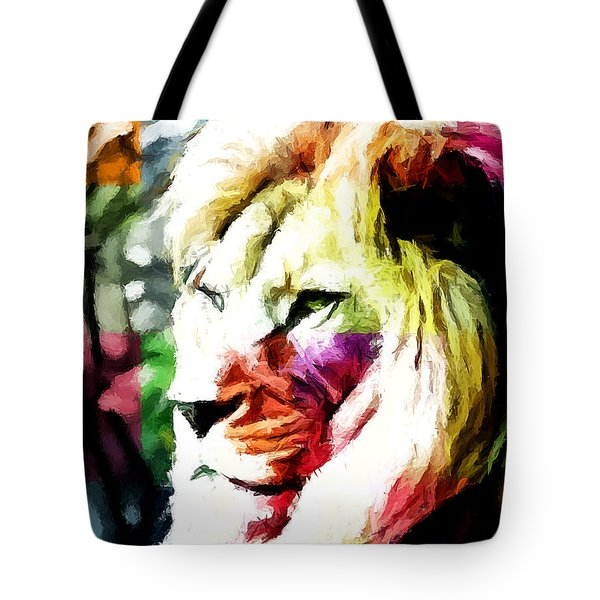 Tote Bag featuring the painting Lion - Leone by Ze  Di