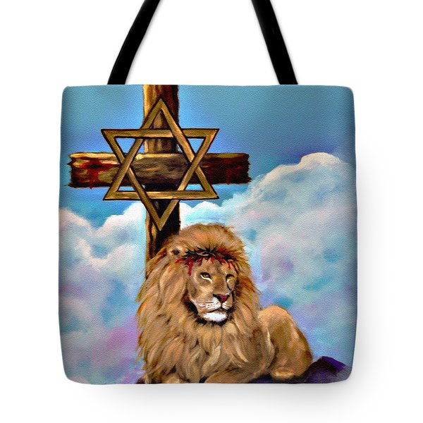 Lion Of Judah At The Cross Tote Bag