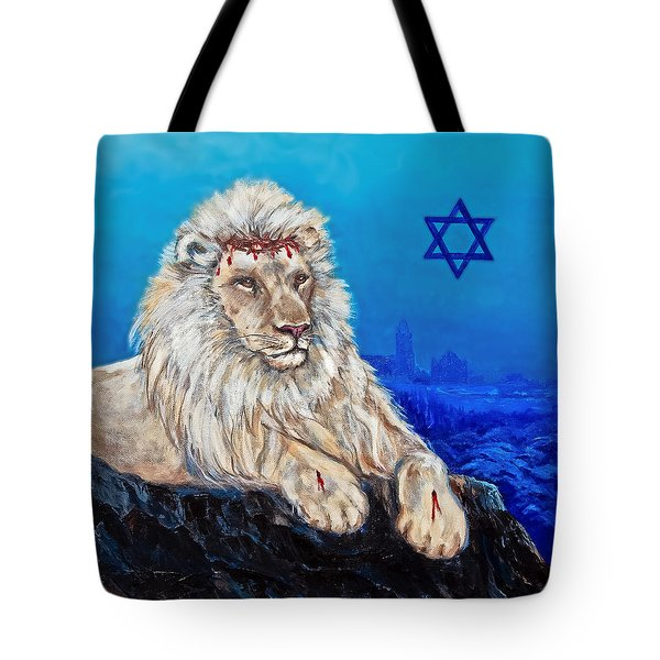 Lion Of Judah Before Jeruselum Tote Bag