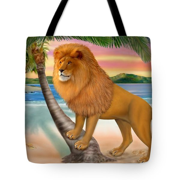 Lion On The Beach Tote Bag by Glenn Holbrook