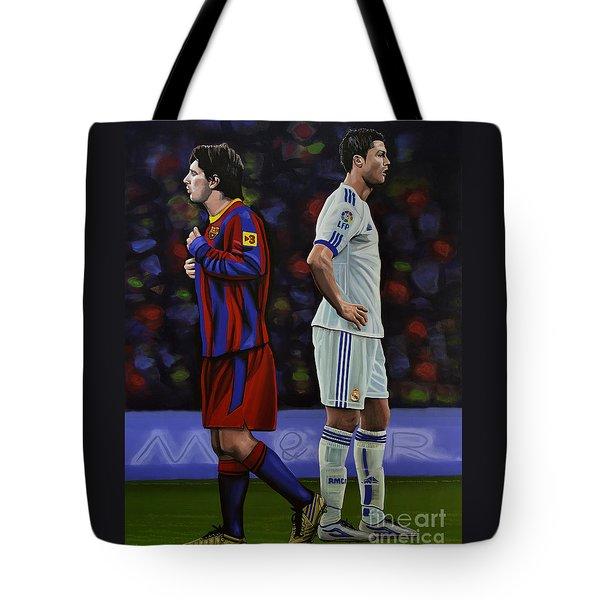 Lionel Messi And Cristiano Ronaldo Tote Bag